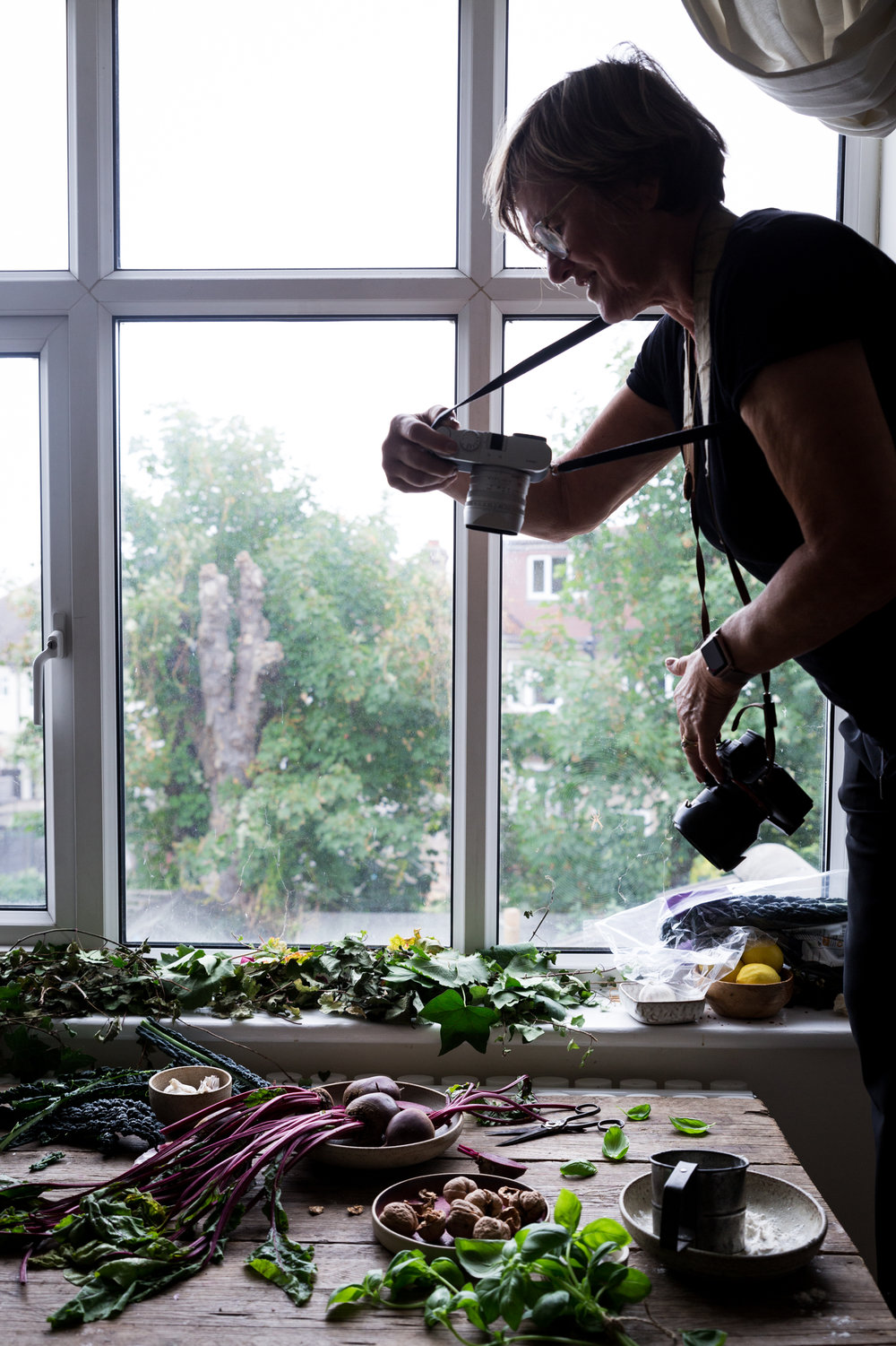 London food photography workshop - Attendee Pat working the flatlay.