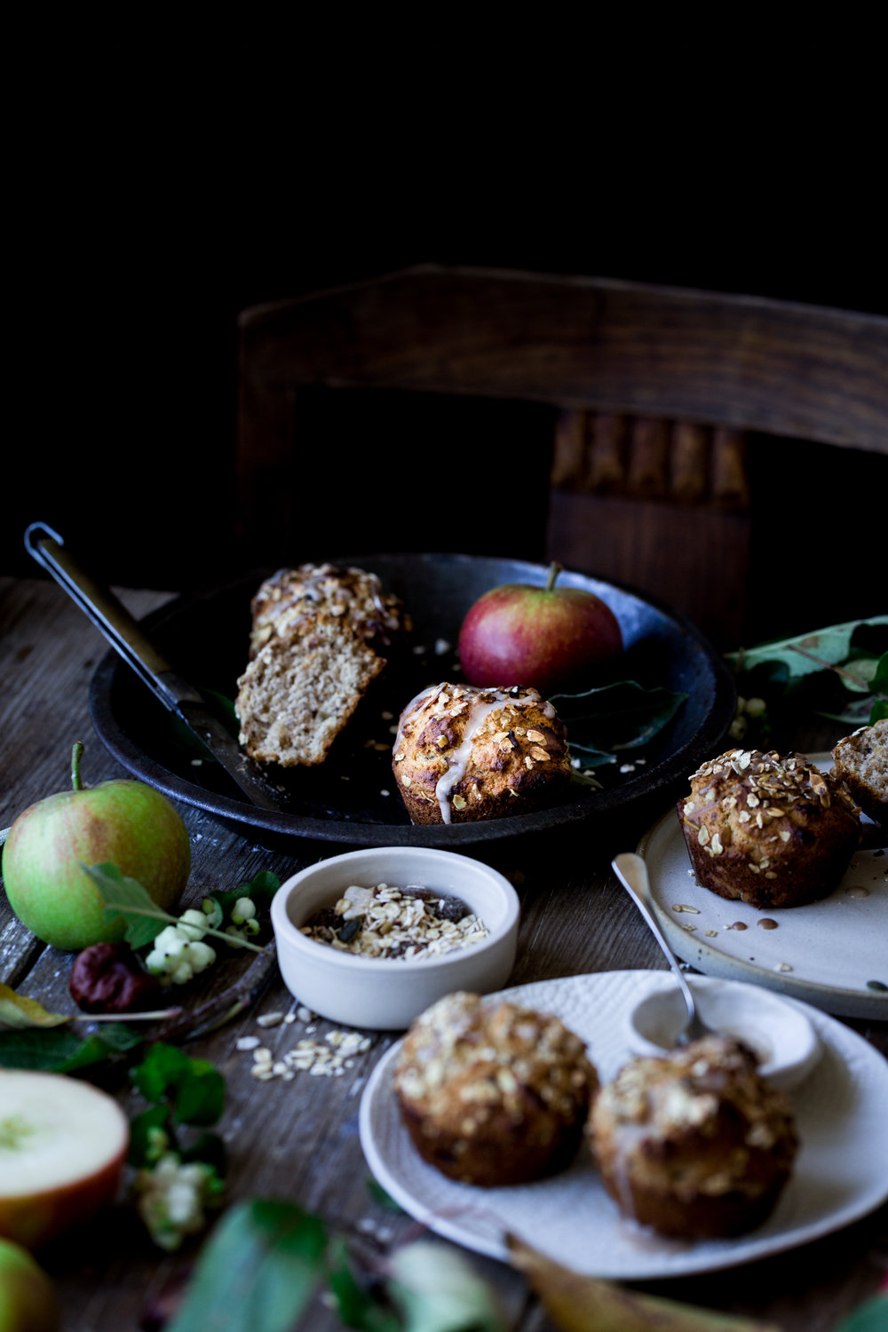 Vegan apple muesli muffin recipe for Deemuesli - The Little Plantation
