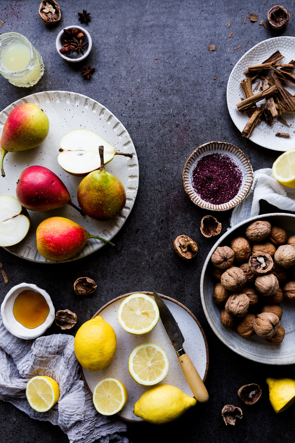 Easy poached pear and caramelised nuts recipe - The Little Plantation food blog