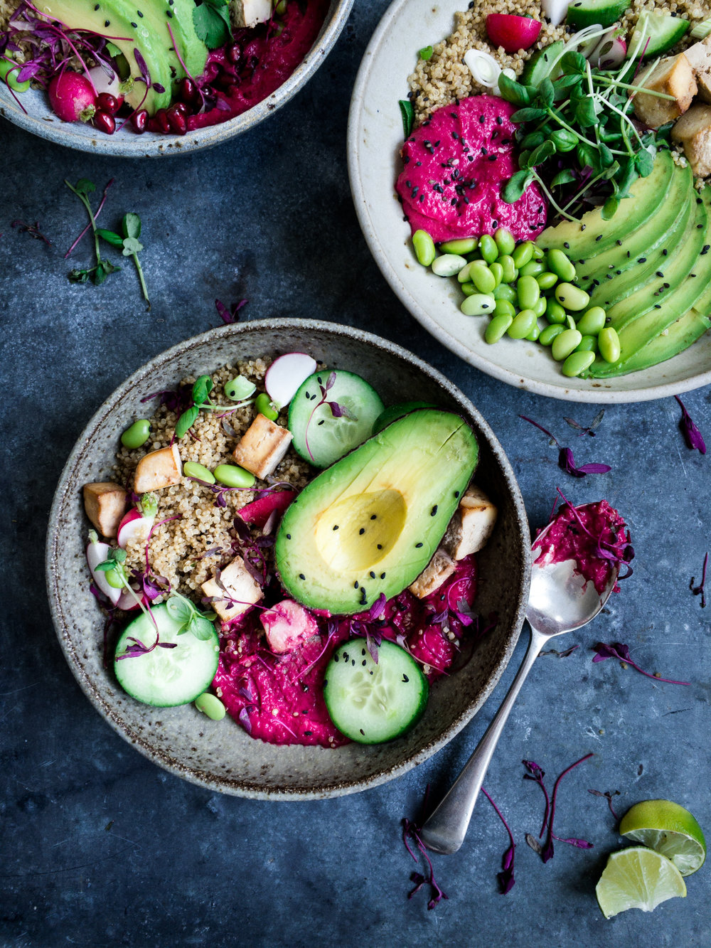 Mobile phone shot of buddha bowl, styled on the day.