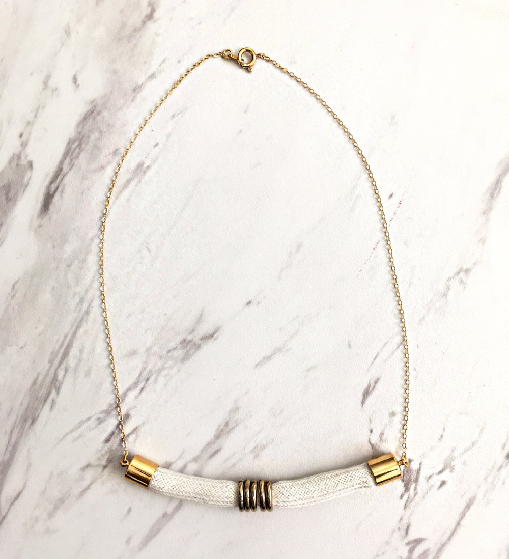 STILE NECKLACE $35 Cotton Rope + 18K gold plated caps + 14k gold chain