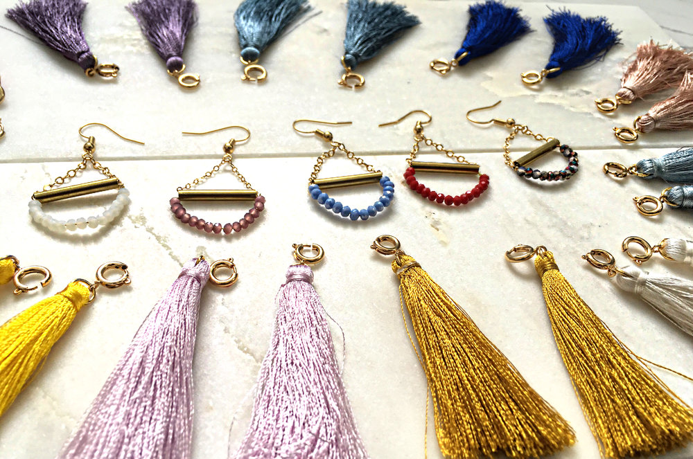 CARMEN $35 Multi-use detachable tassel earrings. Wear these in any color depending on your mood or occasion. First pair comes with your choice of tassel, extra tassels are $15 the pair
