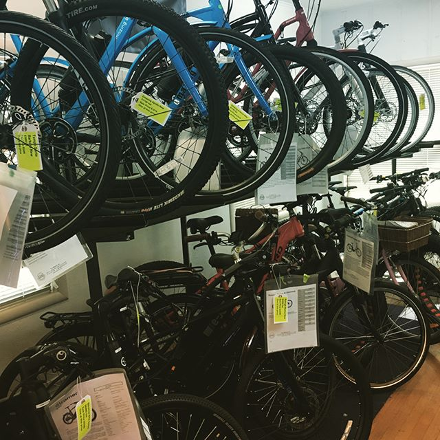 Check out all the bikes we have on sale! All yellow tags are our new bikes on sale! #elvmotors #electricbike #ebike #eprodigy #stromer #emazingbike #raleighbikes #concordbikes #focusbikes