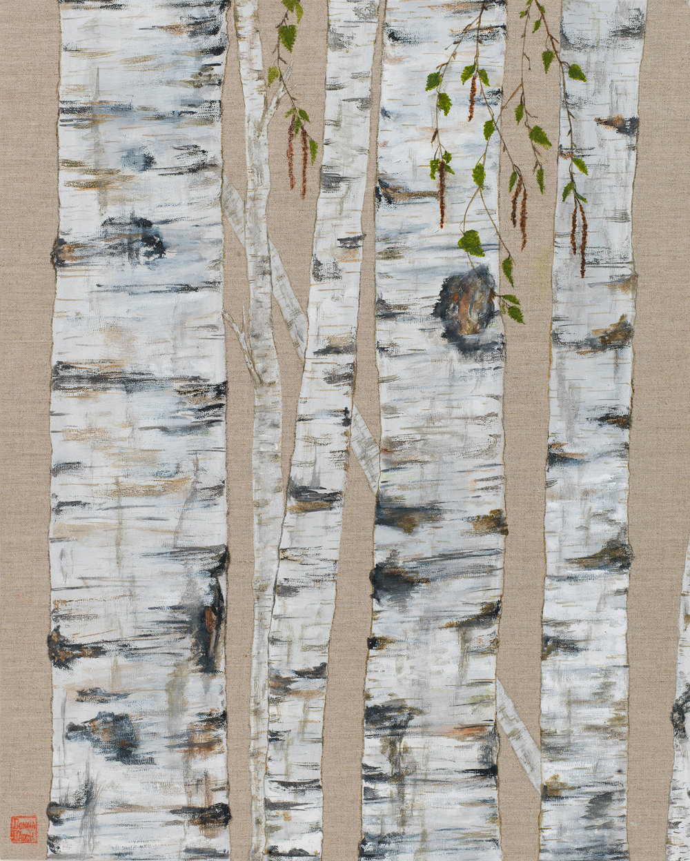 Tall Birch on Linen