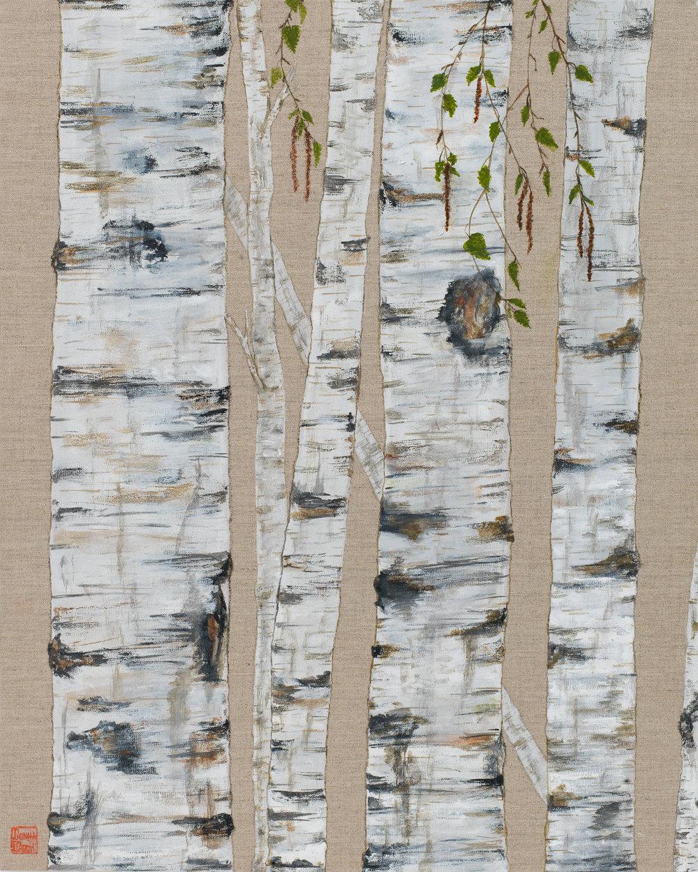Tall Birch on Linen