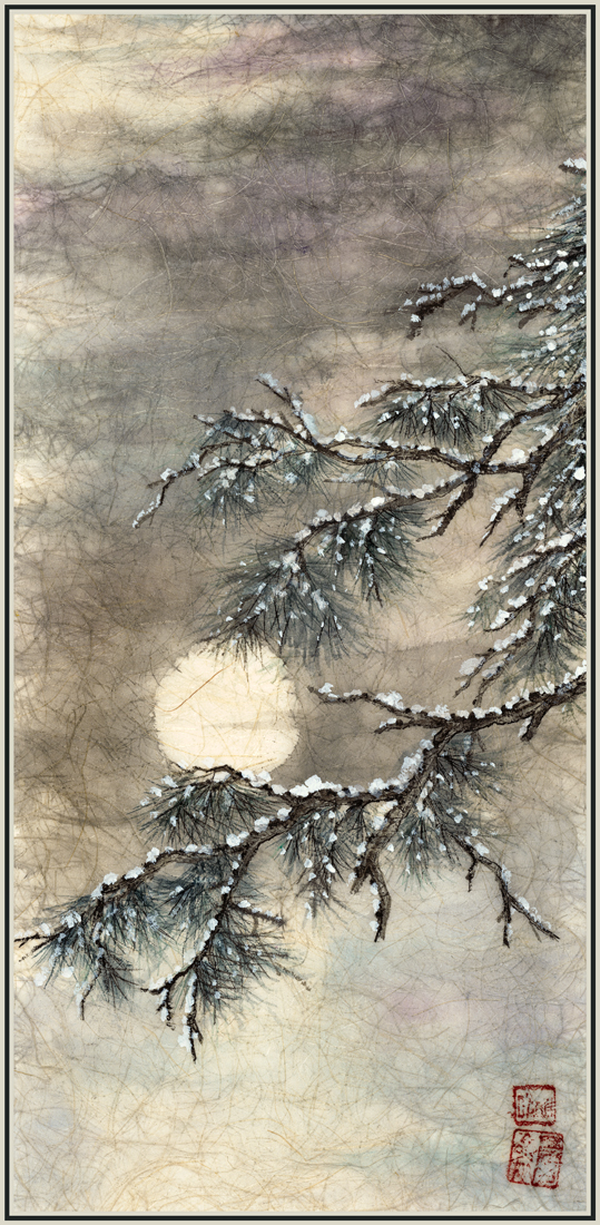 Snowy Pine and Moon