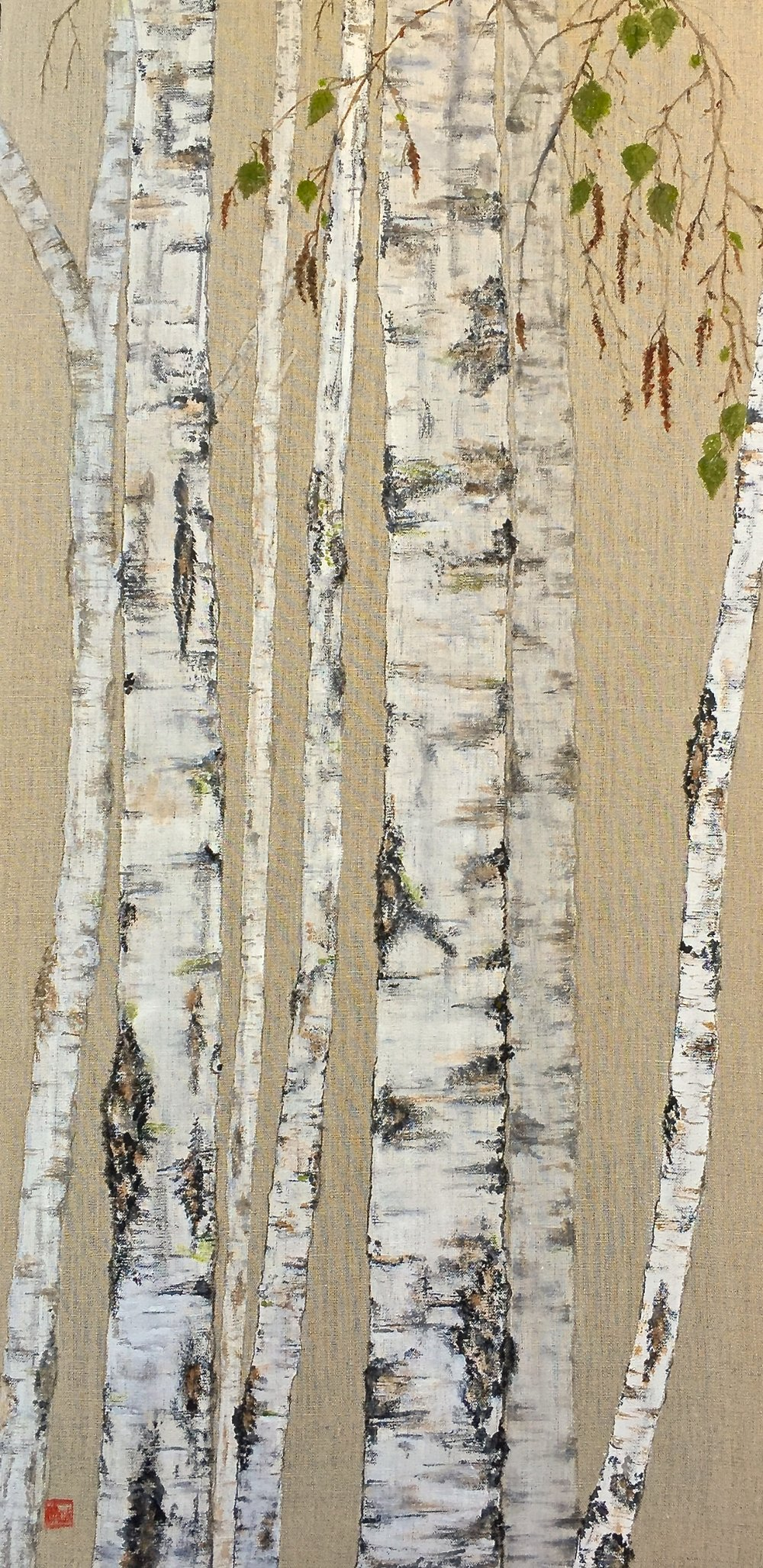 Tall Birch with Leaves