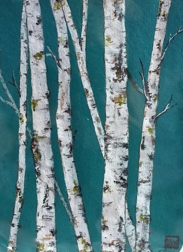 Birch on Turquoise