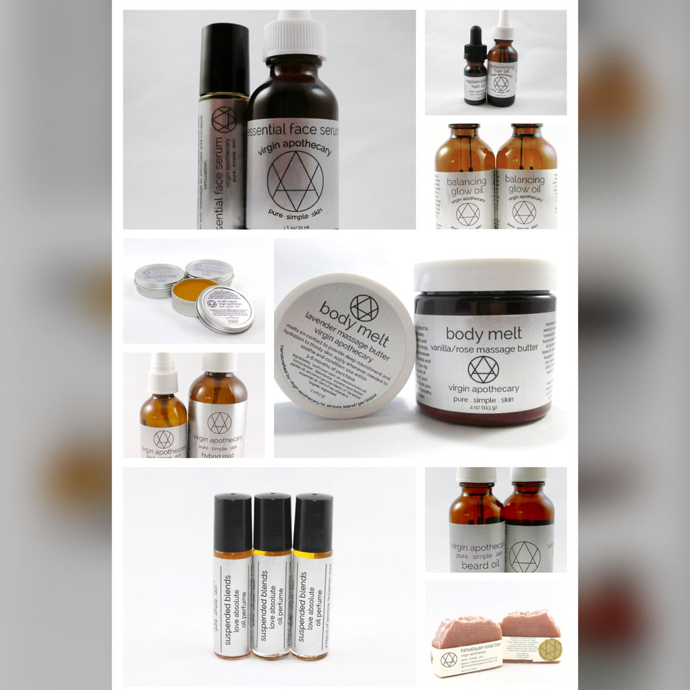 Screenshot of her online shop! I want all the things!! Enter  here  for your chance to win a Virgin Apothecary Travel Kit! Goodies include:   1 Pink Lotus/Lavender Hybrid Mist (2 oz)  1 Multi Salve (1 oz)  1 Cocoa Mint Lip Balm  1 Essential Face Serum (10 ml roller)