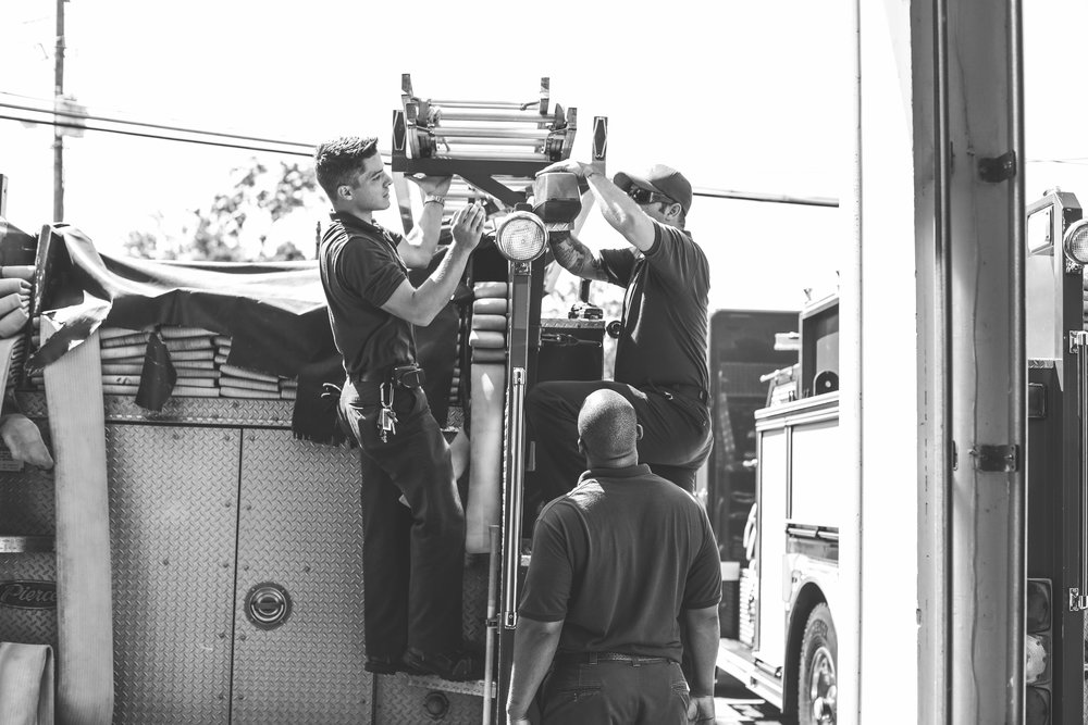 The Brunswick Fire Department performs maintenance on one of their engines