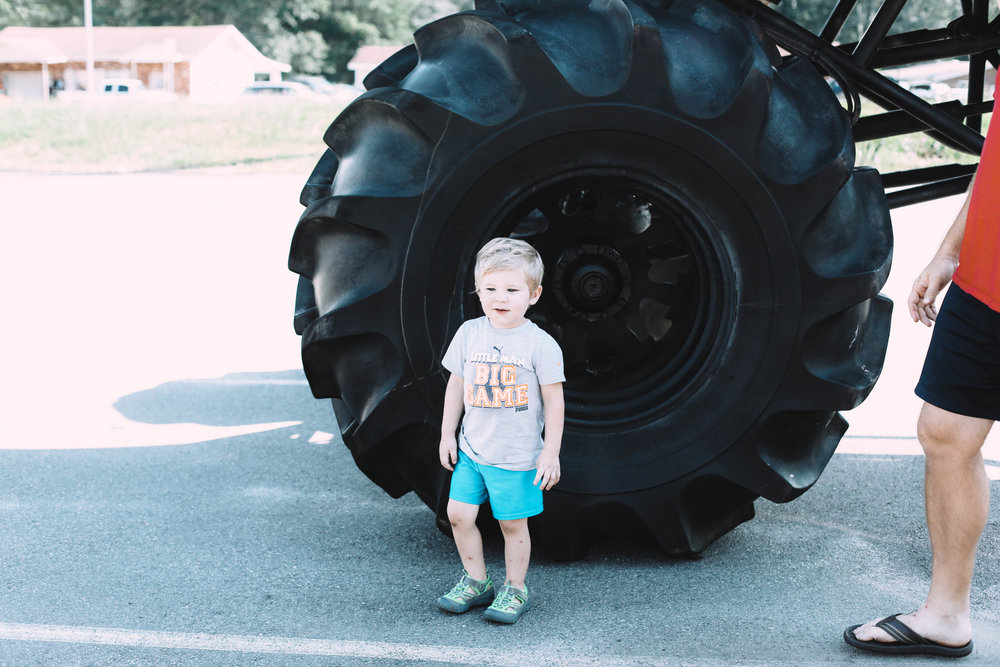 As soon as we rolled into Warner Robins, we spotted this monster truck & let Emmerson explore for the very first time ever!