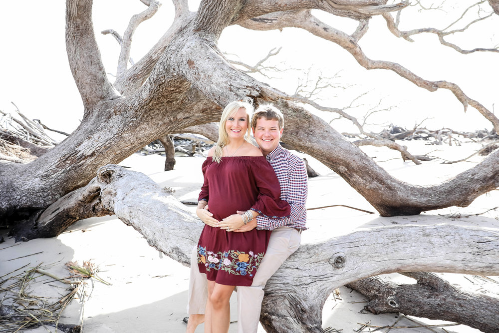Maternity session on Driftwood Beach, Jekyll Island, GA