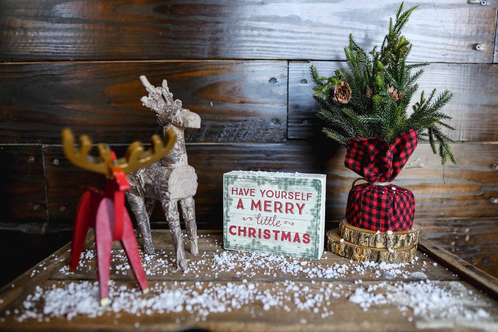 Christmas display with fake snow and reindeer