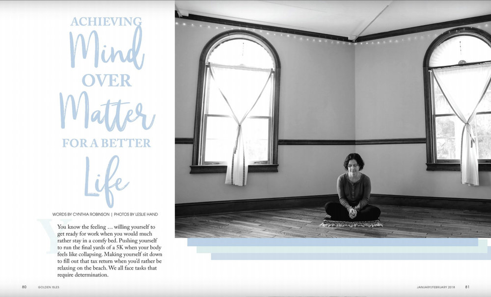 An instructor meditates in the yoga room at Balance Studio on St. Simons Island, GA