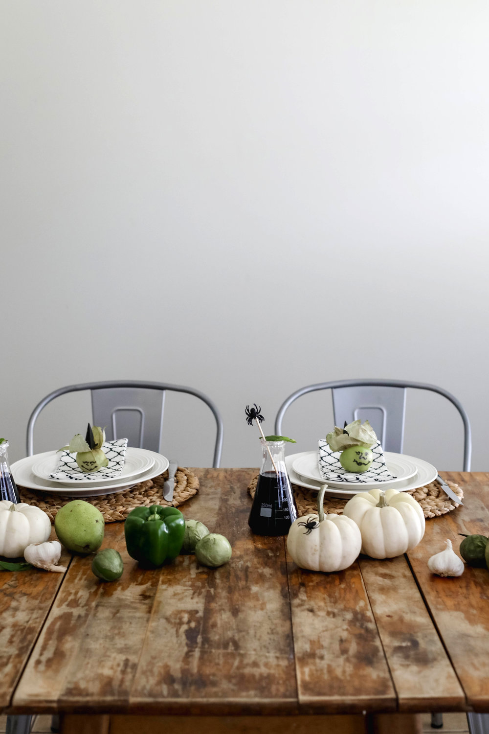 Halloween tablescape with tomatillos
