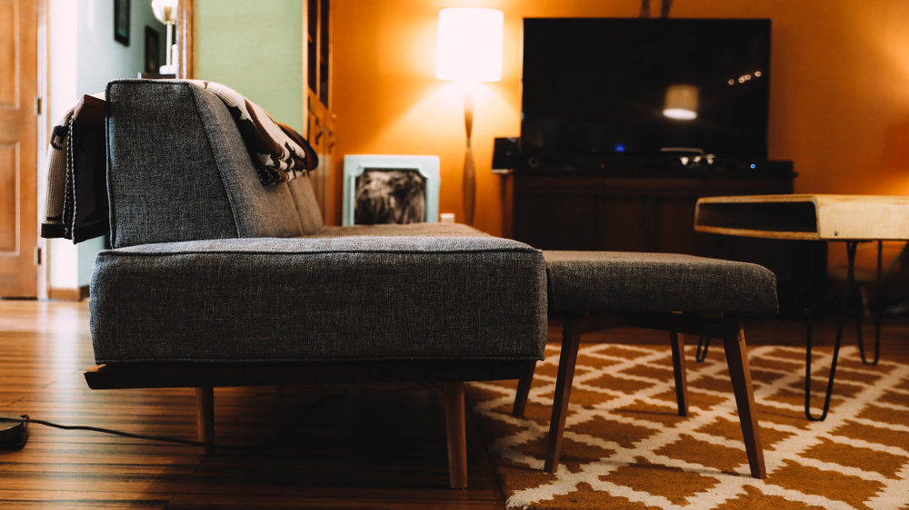 Couch & coffee table crafted by Chris McKenzie