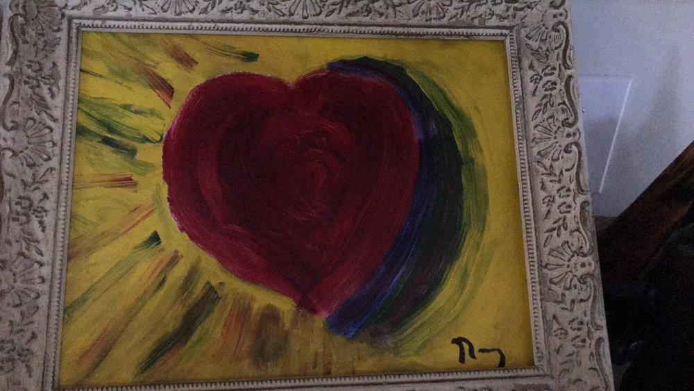"Nancy's first painting, ""Heart into God's Love"""