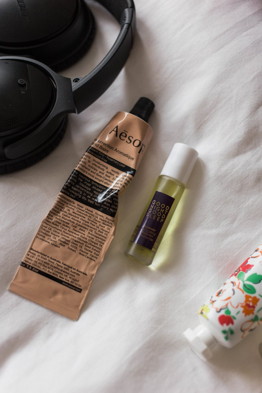 affecionada, carry-on essentials for the anxious flyer, aromatica, essential oil, Aesop, Resurrection Aromatique Hand Balm