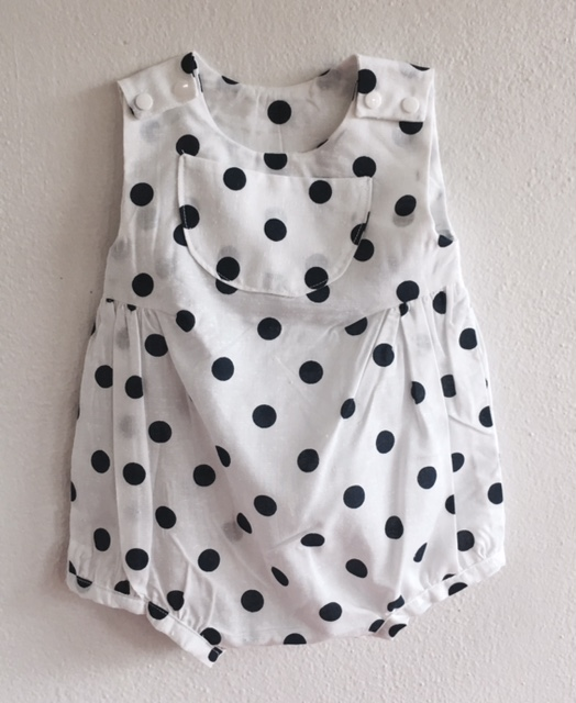 92c49d1d0ea8 Baby Bubble Romper (White w Navy Dots) — Missional Wisdom Foundation