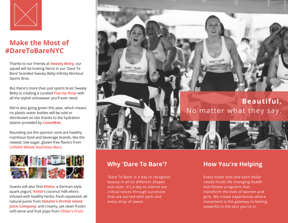 EVENT BROCHURE, MOVEMEANT FOUNDATION   CREATED FOR 'DARE TO BARE,' THIS TRIFOLD BROCHURE WAS DESIGNED TO BUILD ANTICIPATION FOR EVENT ATTENDEES.