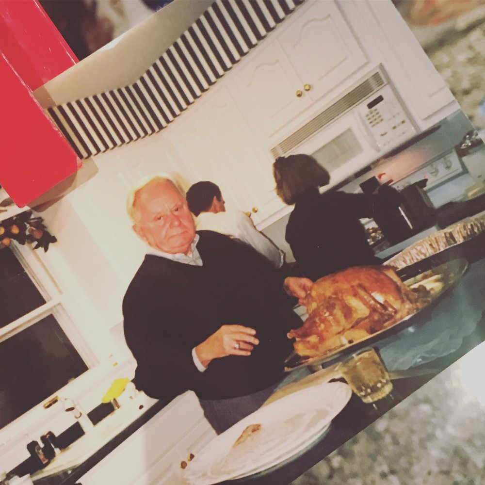 Poppy carving the turkey. My mom and dad in the back. Nice 80's loaf, mom :)