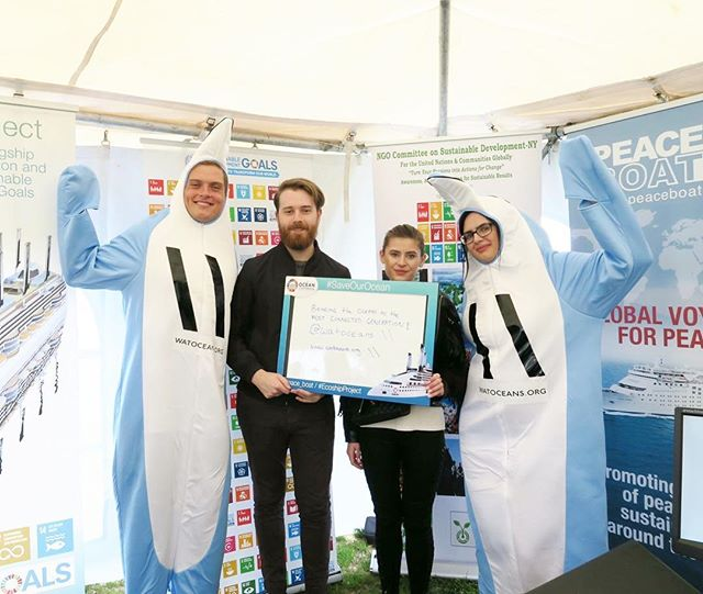 At the World Ocean Festival, Peace Boat teamed up with the NGO Committee on Sustainable Development-NY to collect voluntary commitments from attendees to SDG 14: Life Under Water. #saveourocean  Here's what @watoceans committed!