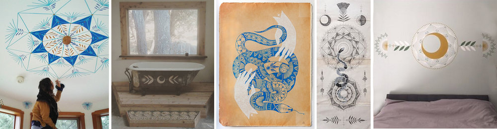 Peptalks  Lauren Napolitano is a painter, muralist and tattoo artist. I love the blue snake with the white hands! I don't have any tattoos but I'd love one of hers, being year of the snake.