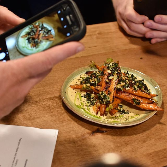 Menu tasting was a success! 🎉 . Summer 2018 products launch TONIGHT! . Pictured here is our Curry Roasted Carrots: Thai Basil Gremolata | Curry Yogurt | Toasted Poppy Seed