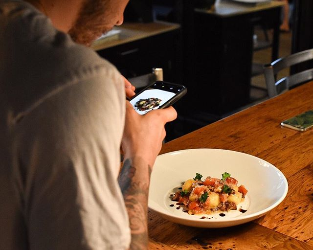 Send Gnudi 📸 . Who says you shouldn't play with your food? That's half the fun. . Tonight's Gnudi special is 🔥🔥 . Parmesan Ricotta Gnudi | Pancetta | Blistered Tomato | Balsamic Reduction