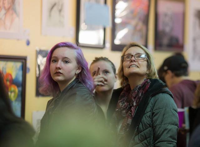 Visitors at a Scholastic Art Awards Reception at FACNRV