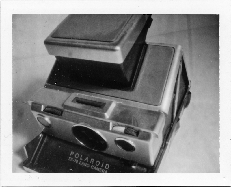 Pinhole photograph of a Polaroid SX-70