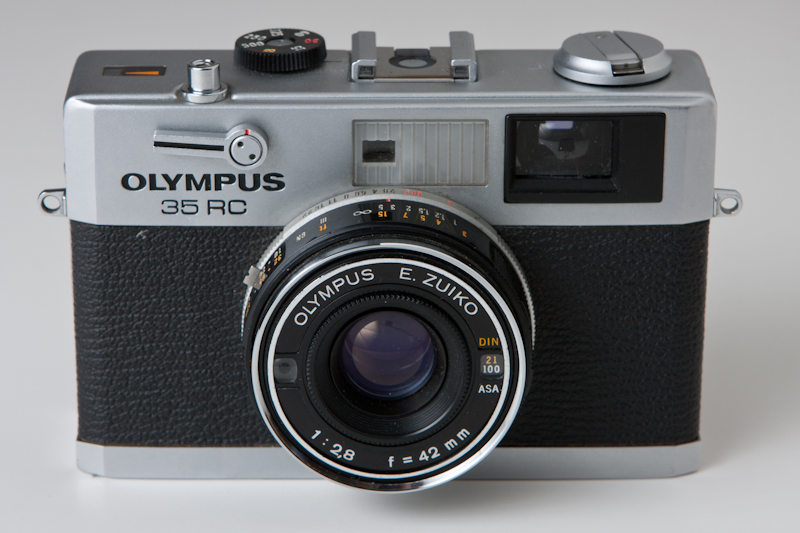 A photograph of an Olympus 35 RC Rangefinder 35mm camera