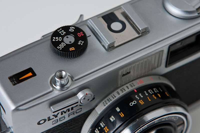 Close up of the top of an Olympus 35 RC