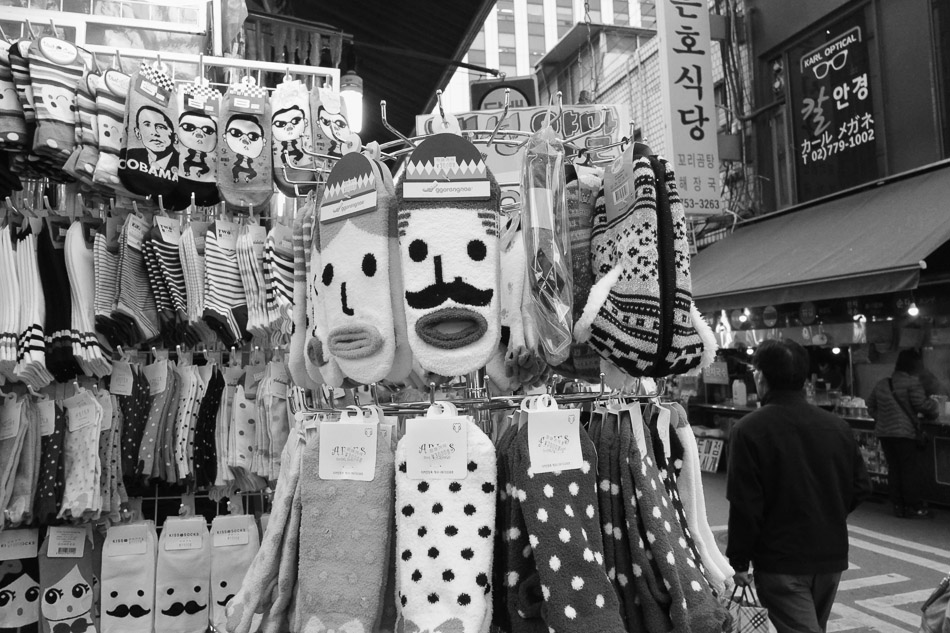 Socks on sale at  Namdaemun market