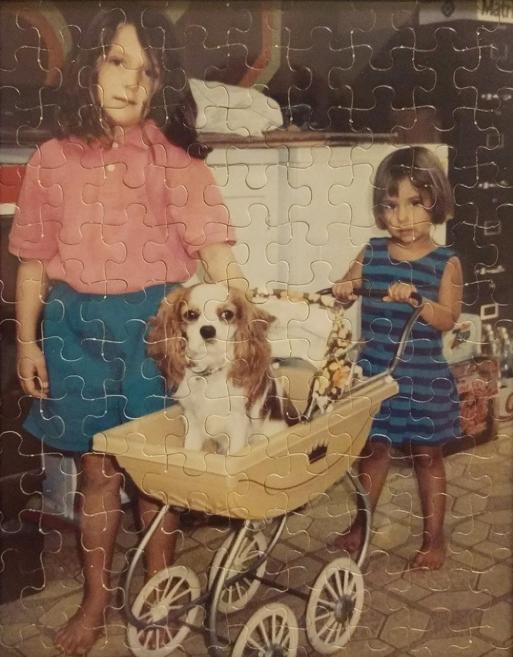 Dr. Rathjens (left) with her childhood dog, Rudy, and younger sister. Yes, this is indeed a picture puzzle. Very 90s.