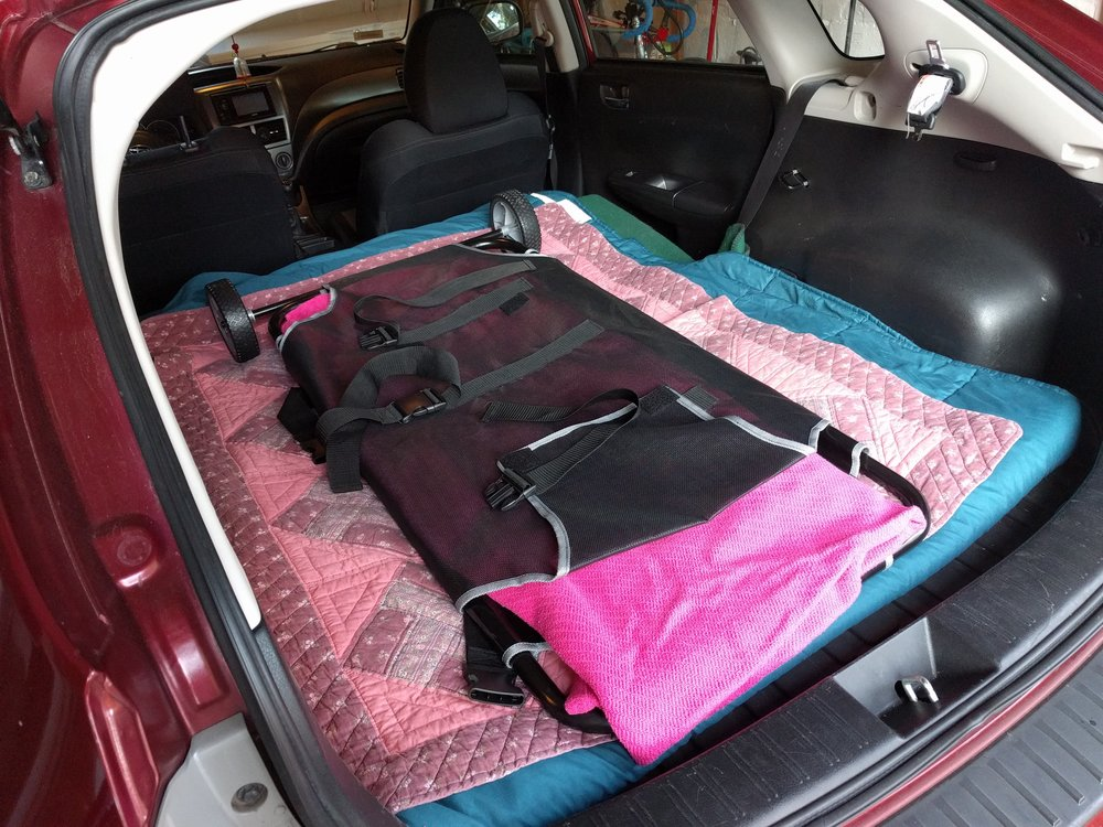Transportation: This is my hatchback with the seats down for a larger dog. A stretcher will be used for pets over about 30 pounds. I am able to move dogs on my own with this because it has wheels on one side, but is easier with two people. For smaller pets, the back seats may be up, making a cozy area for blankets and the basket.