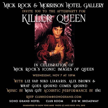 Wednesday Nov 7 in celebration of the legendary @therealmickrock photos of #queen at @morrisonhotelgallery  #bohemianrhapsody #mickrock #legends #rocknroll #newmusic #unitheband