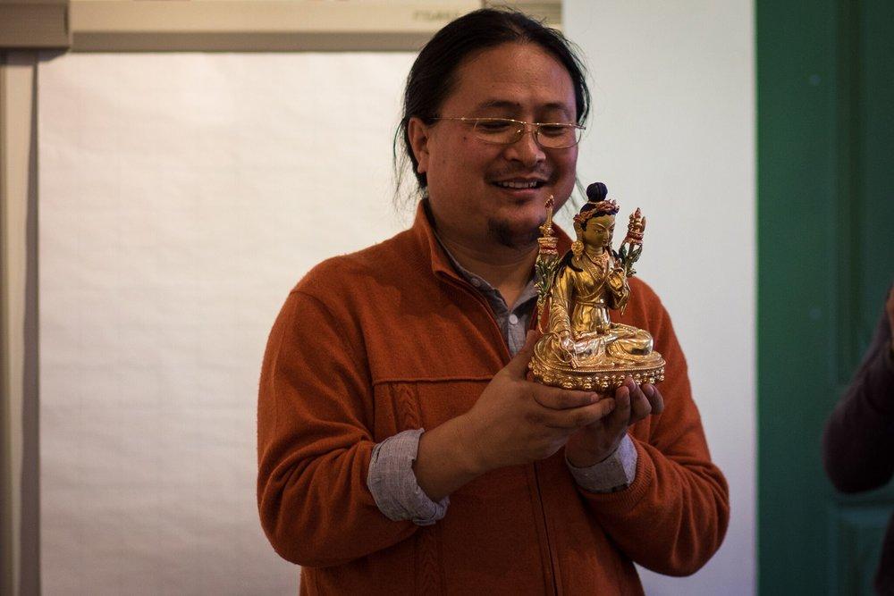 Dr.Nida Chenagtsang and Yuthok statue made in Nepal.