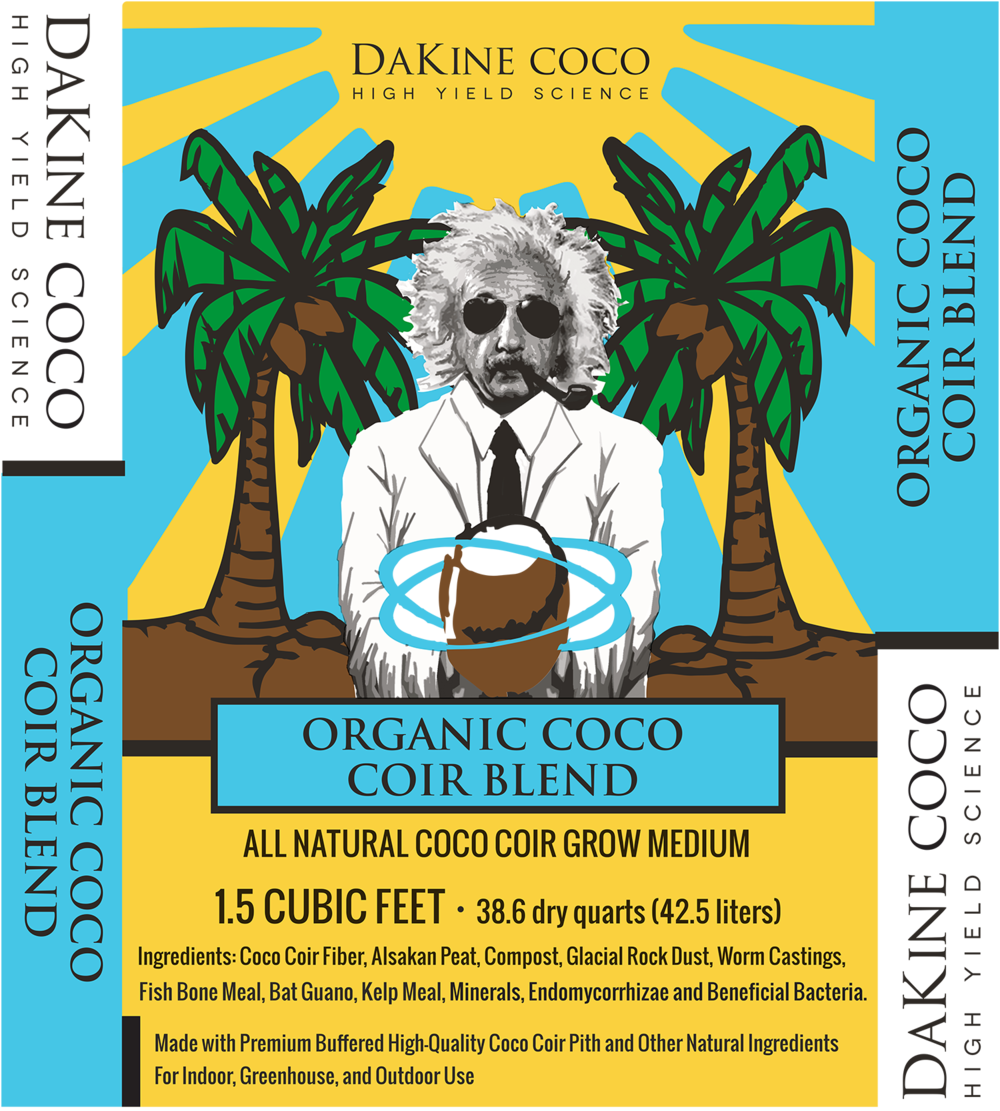 "Organic Coco Coir Blend is an all-natural soil-less grow medium made with the finest all-natural ingredients. DaKine 420 Mad Scientist and his ""main squeeze,"" Mother Nature, teamed up to blend the perfect ratios of coco coir pith, Alaskan peat moss, perlite, compost, montmorillonite, worm castings, fish bonemeal, bat guano, kelp meal, endomycorrhizae, and beneficial bacteria!"