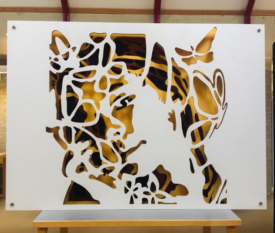 A butter fly's Dream- Installation Art, Stencils, 4 layers wood.