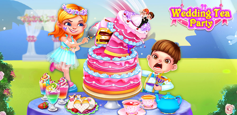 Wedding Tea Party Cooking Game  FREE FOOD GAME Make yummy desserts cookie cake for guests at a wedding tea party.