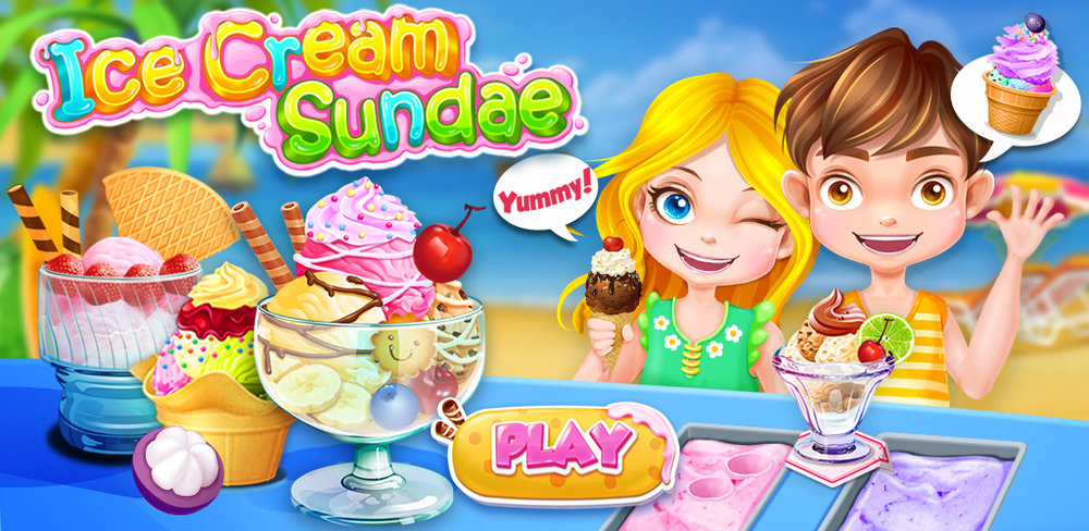 Ice Cream Sundae Maker 2  Run your own icecream sundae shop, make and serve sundaes according to orders!