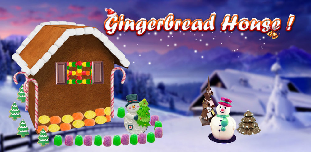 Gingerbread House Maker  Build and Decorate your gingerbread house with hundreds of sugary treats!