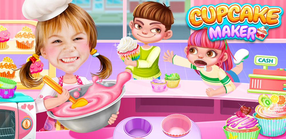 Cupcake Maker! Rainbow Chef  FREE TO PLAY. Take a picture to be the Chef. Make YUMMY Rainbow Cupcakes!