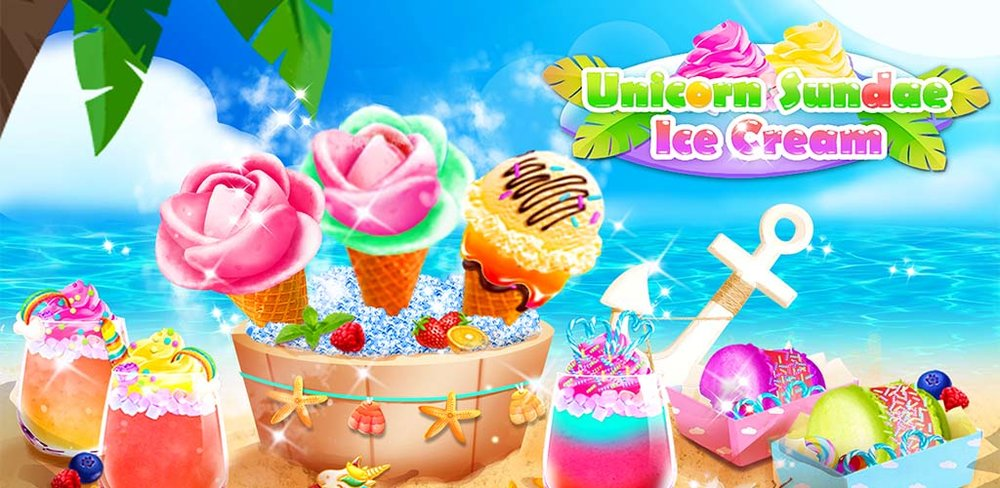 Unicorn Ice Cream Sundae - Ice Desserts Maker  Let's have an incredible icy desserts journey in crazy water park!