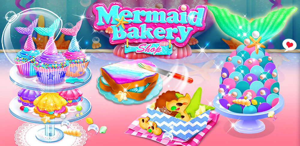 Mermaid Cupcakes  Run a sweet mermaid bakery shop and make yummy mermaid desserts!