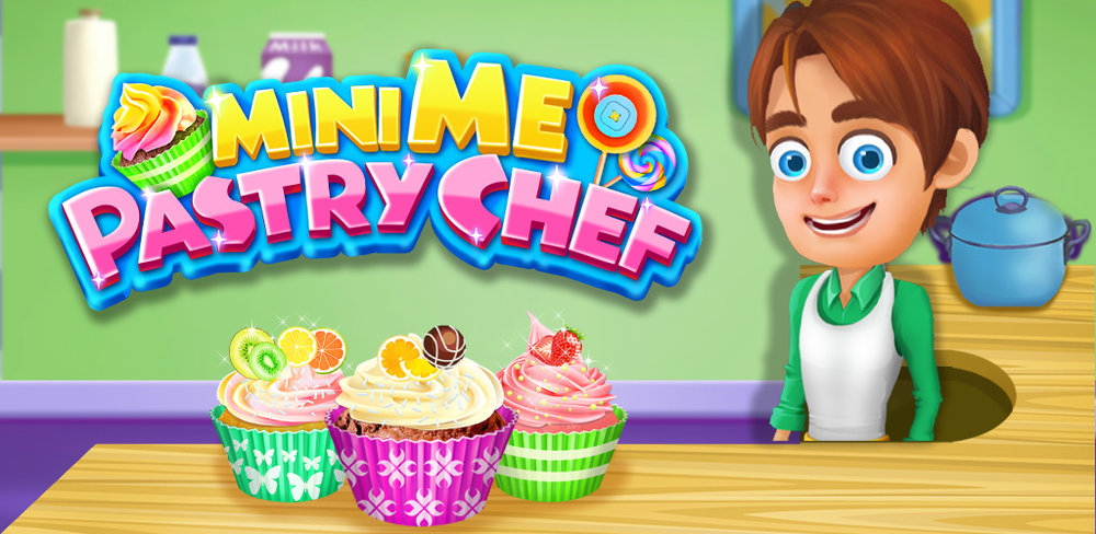 Mini ME Pastry Chef Add your photo to create your own cartoon chef! Cupcakes bakery DIY cooking game
