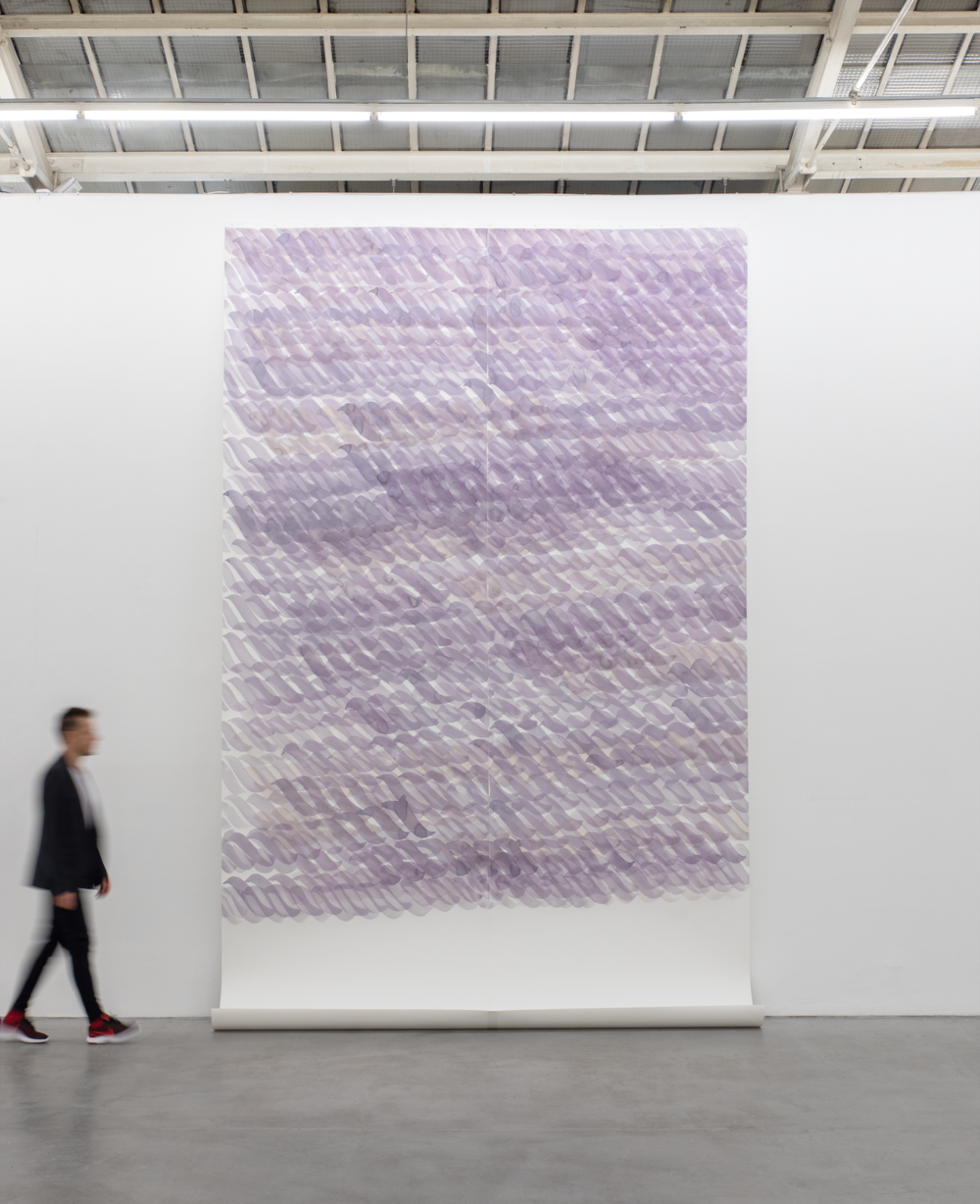 Mircea Cantor,  Words are ropes , 2018 (Wine on acid-free watercolor paper, 474 x 300 cm, Courtesy of the artist & VNH Gallery, Paris) ©Photo: Diane Arques