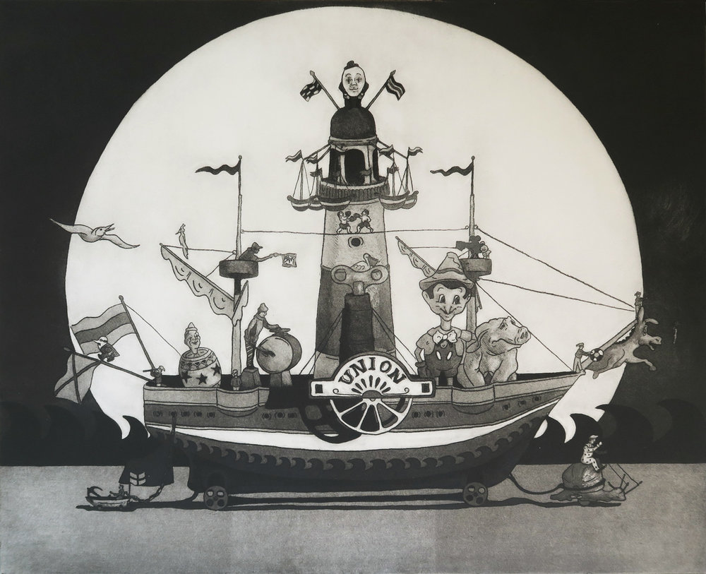 The Good Ship Union,   soft ground etching with aquatint, 53.4 x 43.2 cm, edition of 10