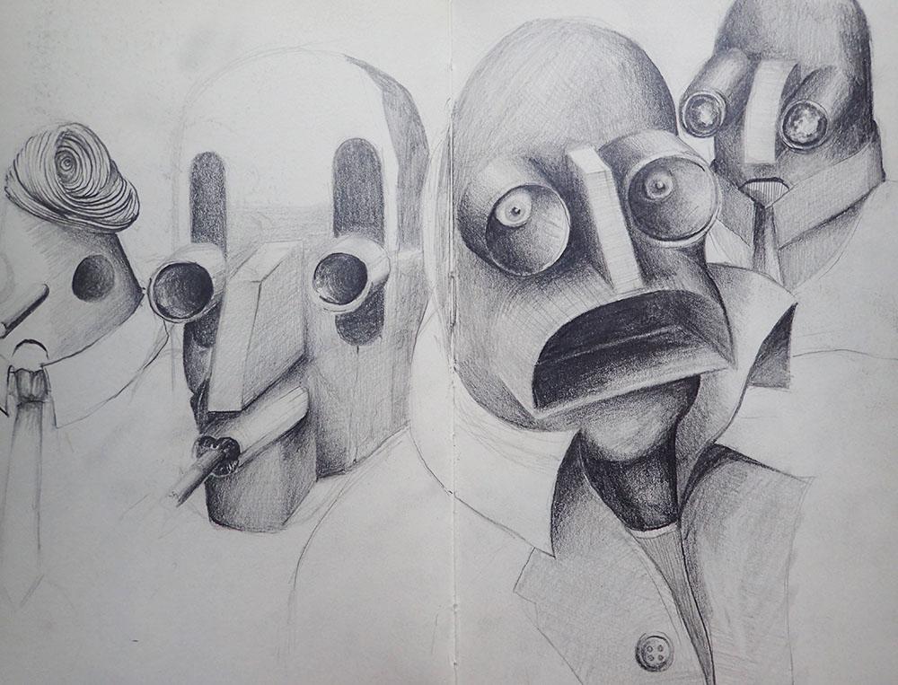 Jonathan Lawrence Sketchbook - Robot confrontation